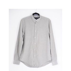 Speckled gray button down shirt